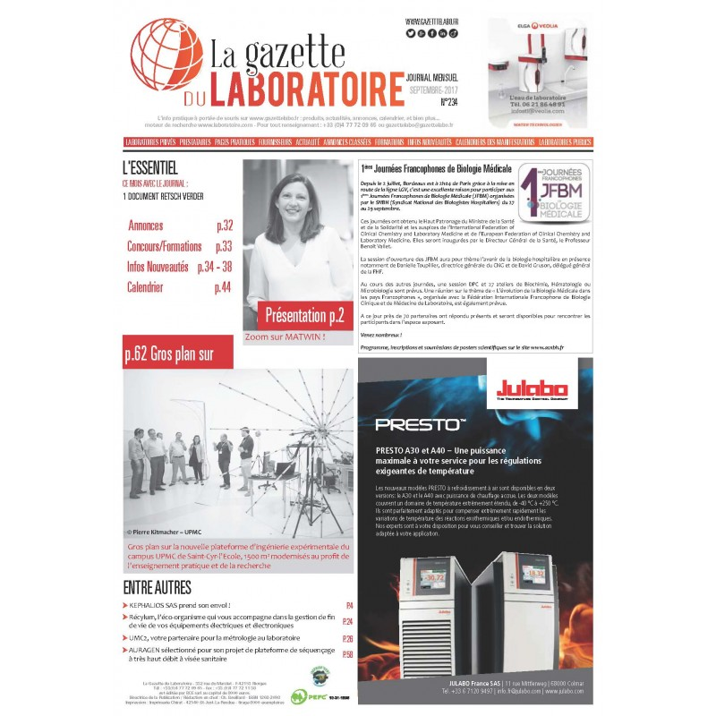 234 - Septembre 2017 - la gazette du laboratoire