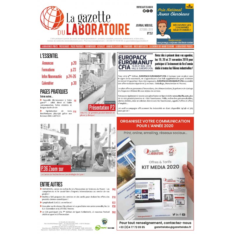 257 - Octobre  2019 - la gazette du laboratoire